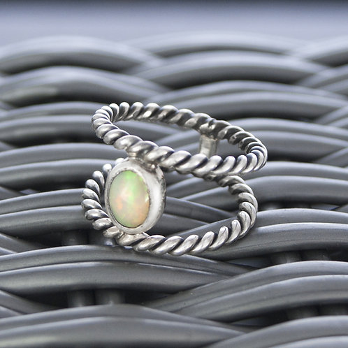 Double Twisted Rope Ring with Opal