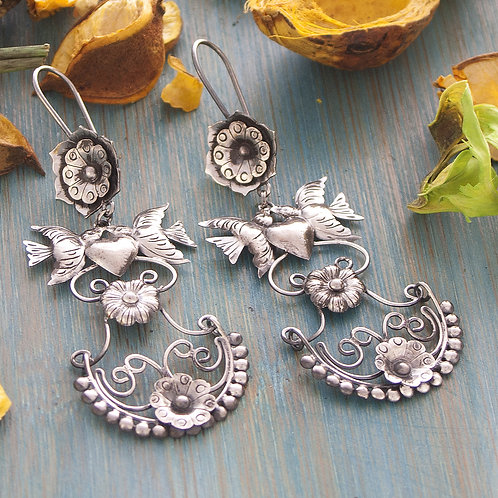 Floral Dove Hanging Scroll Earrings