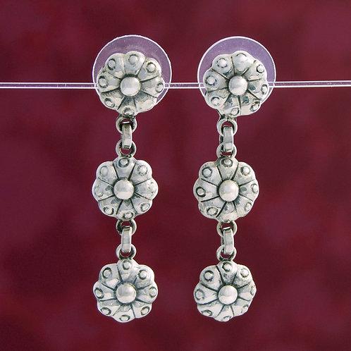 Triple Drop Floral Earrings