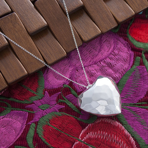 Large Textured Heart Necklace