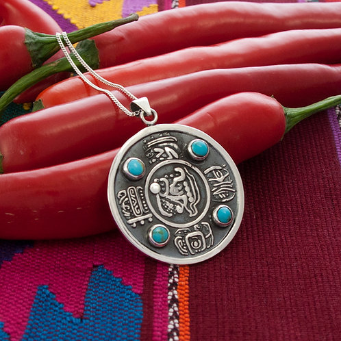 Mayan Pendant on 90cm chain (Pendant width 4cm)