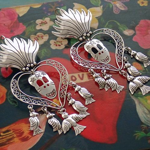 Heart Skull Earrings