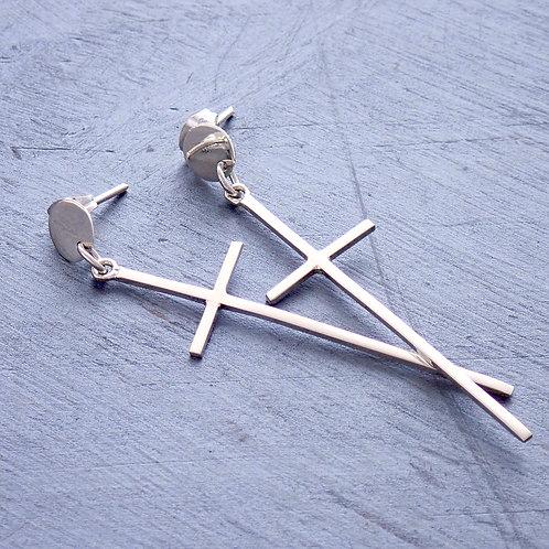 Delicate Long Cross Earrings