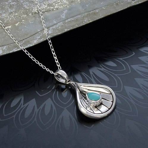 Silver Shell & Turquoise Drop Pendant
