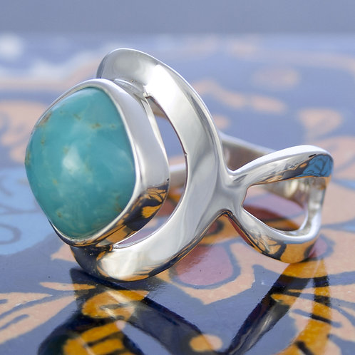 Turquoise Diamond Shaped Scroll Ring