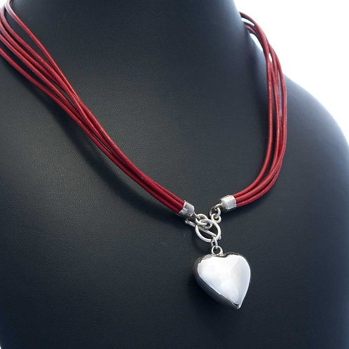 Leather & Heart Necklace