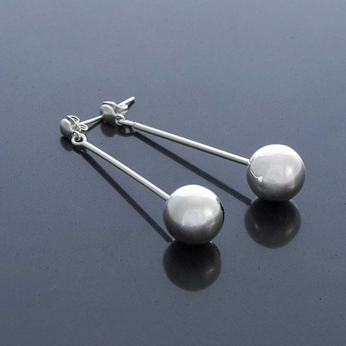 Silver Ball on Post Earrings