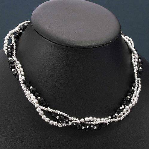Silver & Onyx Twist Necklace