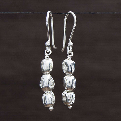 Abstract Silver Bead Earrings