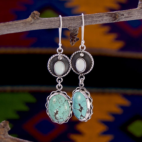 Moonstone & Turquoise Silver Drops