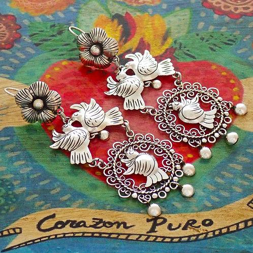 Lovebird Circle Earrings