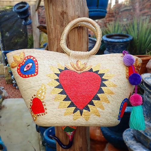Hand Painted Sacred Heart Beach Bag
