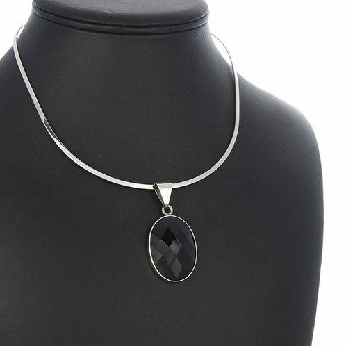 Onyx Pendant on Silver Choker