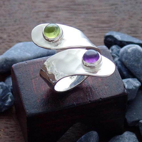 Two stone twist ring
