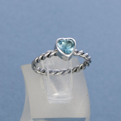 Silver Twist & Blue Crystal Heart Ring