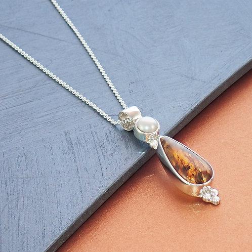 Teardrop Amber Necklace