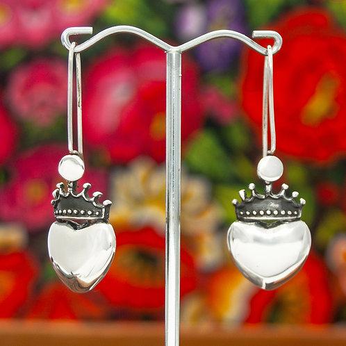 Large Hear & Crown Drop Earrings