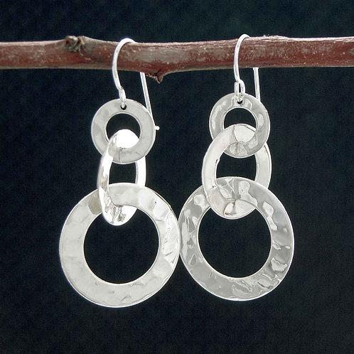 Triple Hoop Textured Earrings