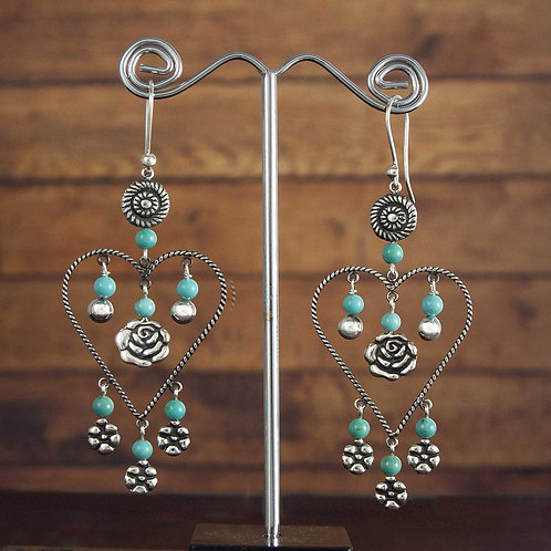 Turquoise Rope Hearts