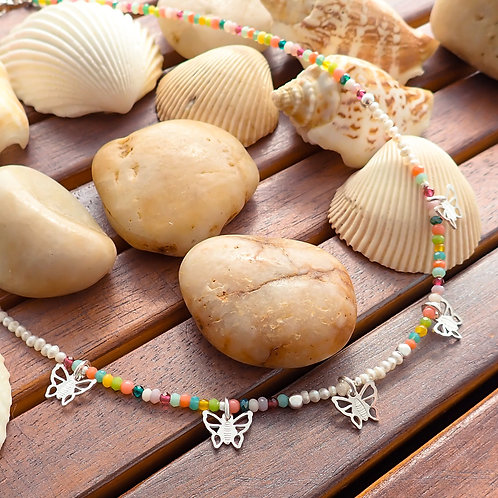 Multi Stone Butterfly Necklace