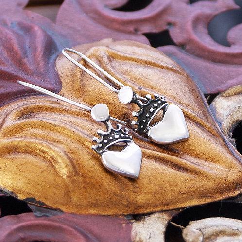 Sml Silver Heart Drop Earrings