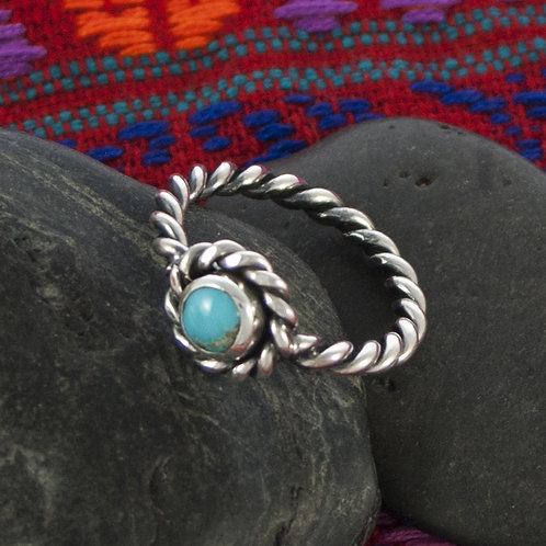 Silver Twist Turquoise Ring
