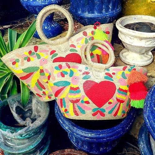 Hand Painted Otomi Beach Bag
