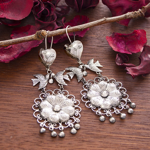 Hearts & Birds Chandelier Floral Drop Earrings