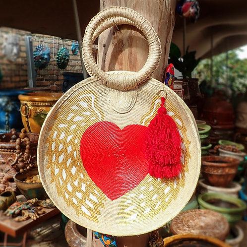 Circular Hand Painted Winged Heart Bag