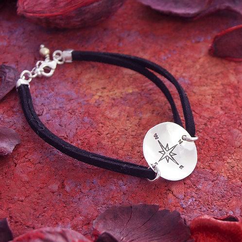 Compass Disk Bracelet on Leather