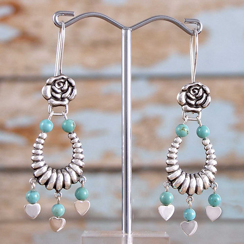 Rose & Turquoise Earrings