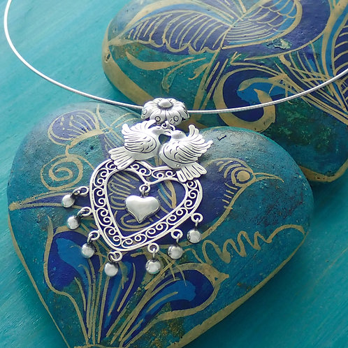 Heart Dove Pendant With Chain