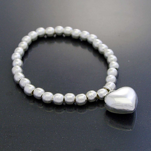 Silver Ball & Heart Bracelet