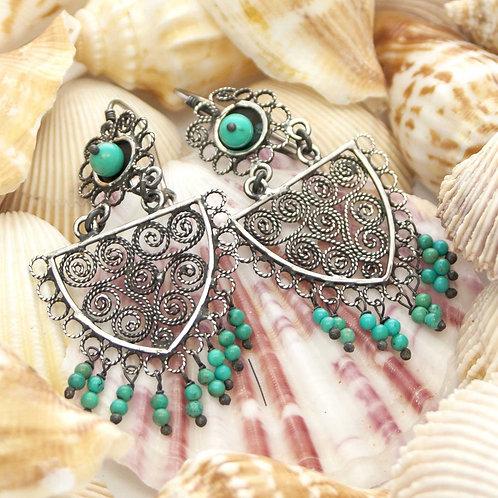 Turuoise & Filigre Earrings