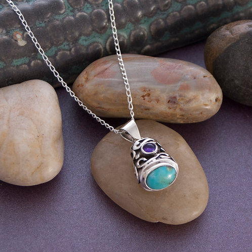 Turquoise & Amethyst Drop Pendant on 45cm chain
