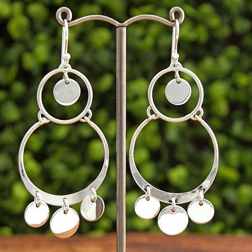 Silver Circles Chandelier Earrings