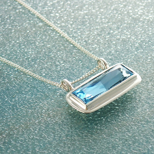 Silver Necklace with Aquamarine Bar