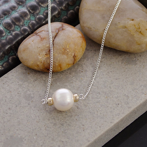 Pearl Pendant with gold studs and silver chain