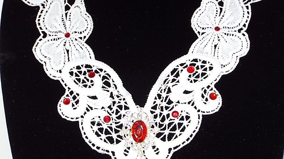 White Lace Necklace With Red Stones