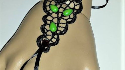 Black Lace Slave Bracelet With Red Rhinestones & Light Green Pear-shape Pearls