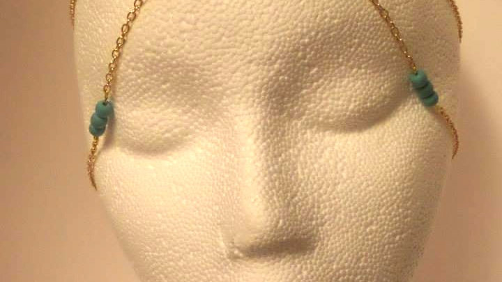 Gold & Turquoise Bead Head Piece