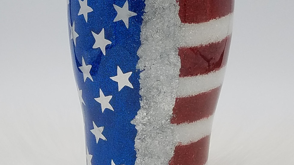 30 oz. Glittered USA Flag Double Walled Stainless Steel Tumbler
