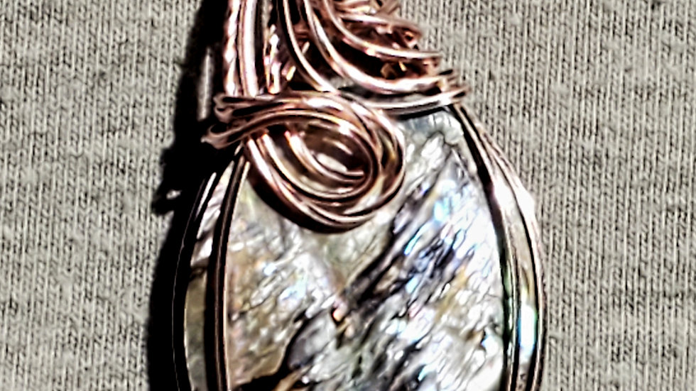 Abalone Shell Wrapped in Rose Gold Wire