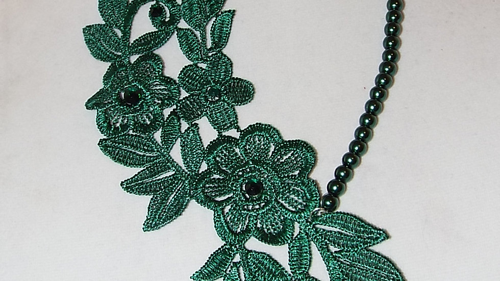 Asymmetrical Dyed Green Lace Necklace With Green Rhinestones & Ribbon Tie