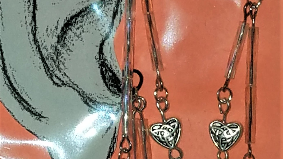 Silver Wire Ear Wrap With Celtic Heart & TransparentBeads