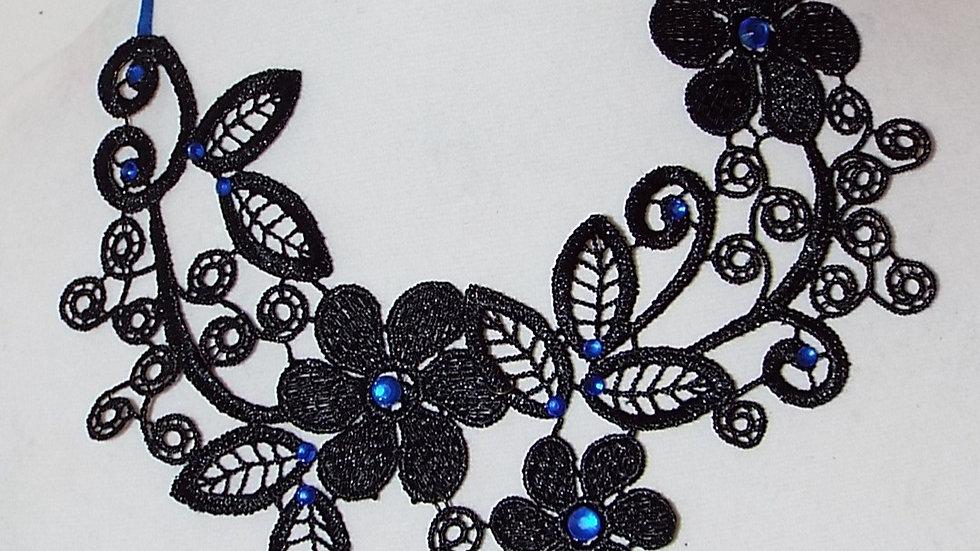 Asymmetrical Black Lace Necklace With Blue Rhinestones & Tear Drop Pendant