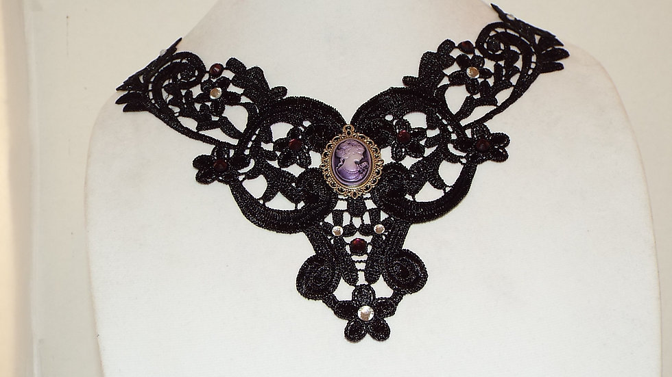 Black Lace Necklace With Clear Rhinestones and Purple Victorian Cabochon