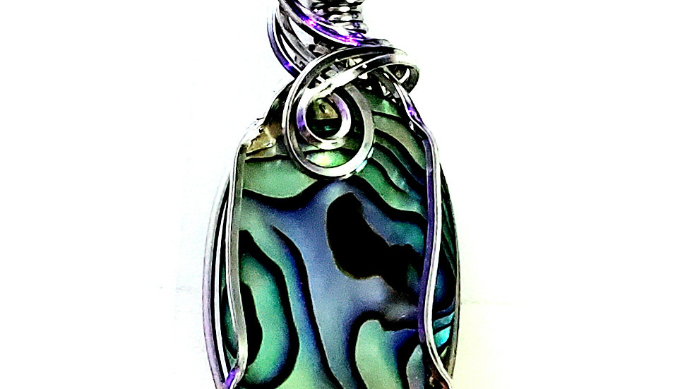 Mother of Pearl Abalone Wrapped in Titanium Wire