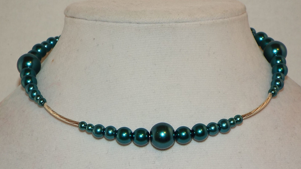 Teal Bead Memory Wire Choker