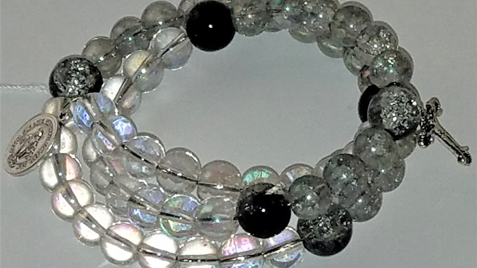 Iridescent & Black Beaded Rosary Bracelet